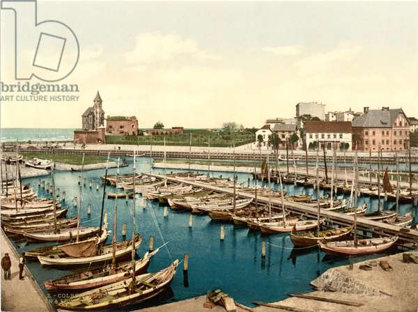 Harbour and pilot station, Colberg, Germany, c.1900 (colour litho)