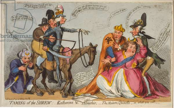 Taming of the shrew: Katharine and Petruchio; The modern Quixotte, or, what you will, 1791 (hand-coloured etching)