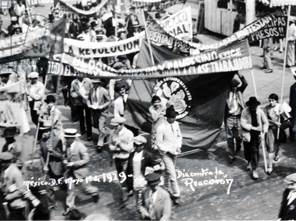 March of the Workers, Mexico City, May Day 1929 (b/w photo)