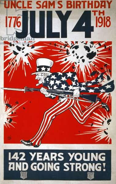 Uncle Sam's Birthday, 1918 (colour litho)