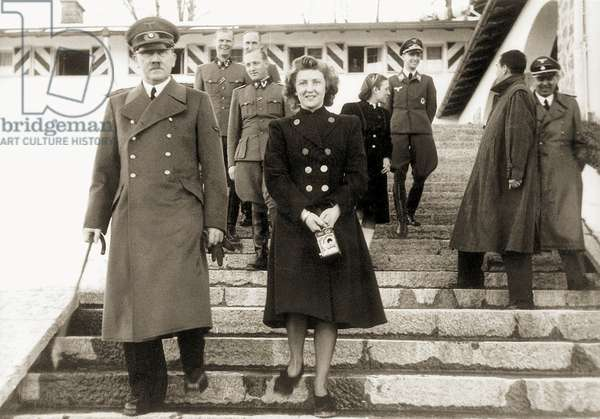 Eva Braun and Adolf Hitler, 1940 (b/w photo)