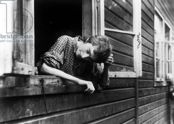 A survivor of the Bergen-Belsen concentration camp, which was taken over by the Allied 21st Army Group, 15th April 1945 (b/w photo)