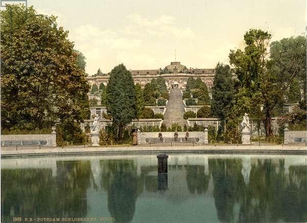 Sanssouci, Potsdam, Germany, c.1900 (colour litho)