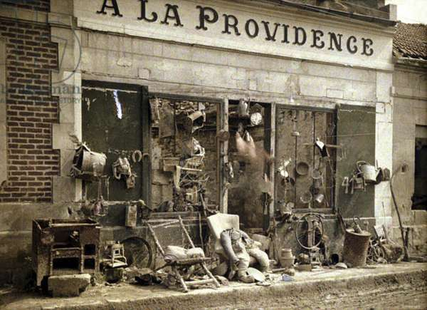 Junk shop 'A La Providence' after the retreat of the Germans, Bucy-le-Long, Aisne, France, 1917 (autochrome)