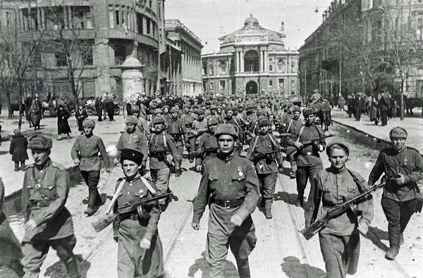 The 8th Guard of the Army of General Chuikov on the streets of Odessa, USSR, April 1944 (b/w photo)