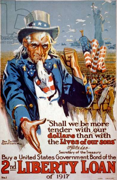 Poster advertising the 2nd Liberty Loan, 1917 (colour litho)