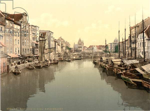 Fish and vegetable market, Königsberg, East Prussia, Germany, c.1900 (colour litho)