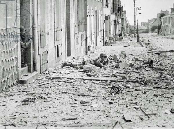 Americans take shelter during the battle for Brest, Brittany, France, September 1944 (b/w photo)