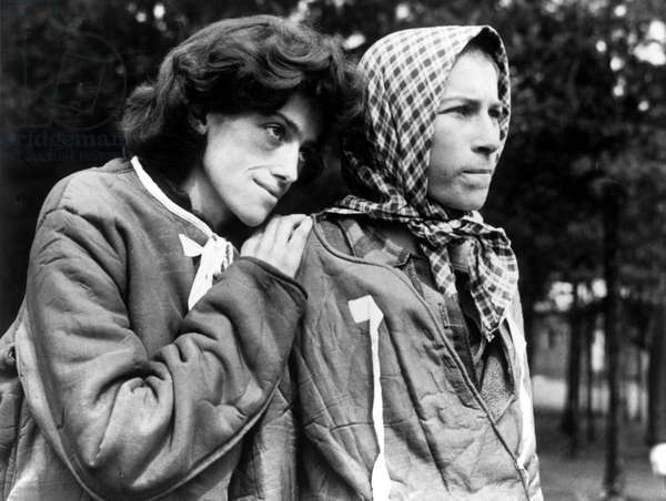 Two women survivors of the Bergen-Belsen concentration camp, which was taken over by the Allied 21st Army Group, 15th April 1945 (b/w photo)