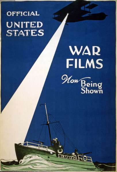 """Official United States war films now being shown"", 1917 (colour litho)"