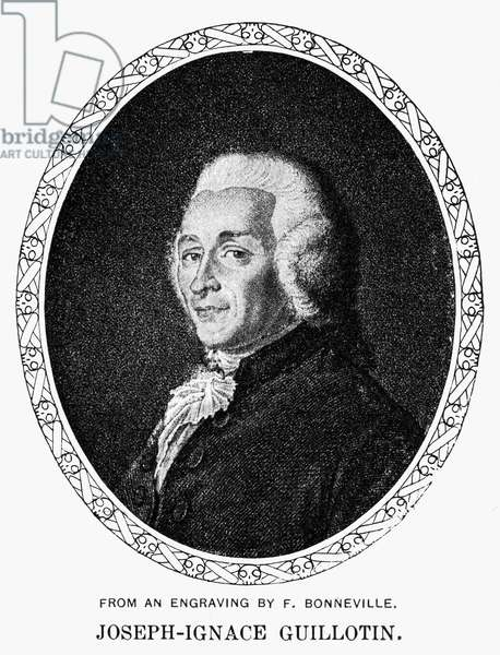 JOSEPH IGNACE GUILLOTIN (1738-1814). French physician. Contemporary line engraving.