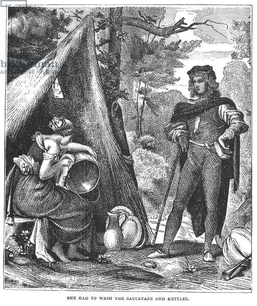GRIMM: KING THRUSHBEARD 'She had to wash the saucepans and kettles.' Line engraving, late 19th century, for the fairy tale by the Grimm Brothers.