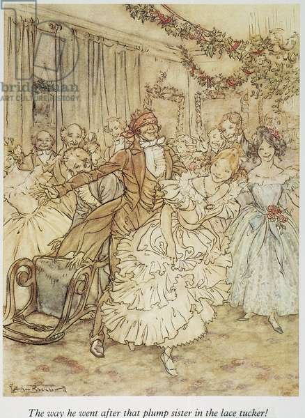 "CHRISTMAS CAROL Christmas at the home of Scrooge's nephew, Fred. Illustration by Arthur Rackham for Charles Dickens' ""A Christmas Carol."""