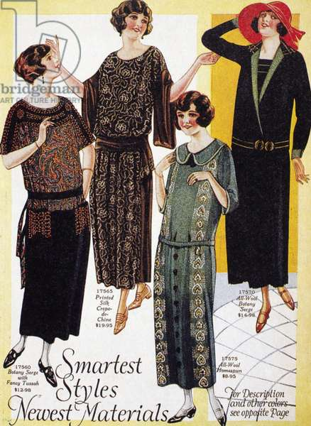 FLAPPERS, 1926 Canadian advertisement for women's dresses, 1926.
