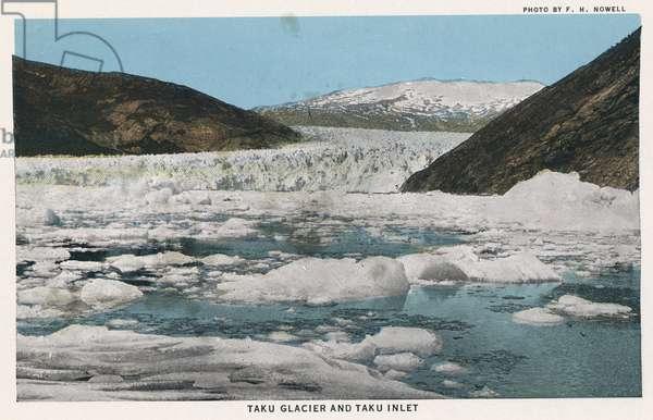 ALASKA: TAKU GLACIER Taku Glacier and Taku Inlet in Alaska. Postcard, c.1938.