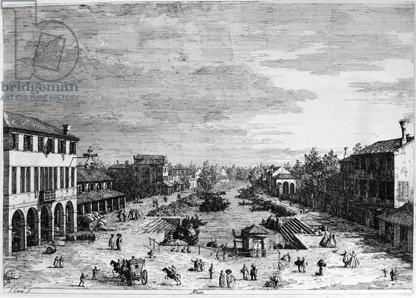 ITALY: MESTRE The town of Mestro in Veneto, Italy. Line engraving by Giovanni Antonio Canal or Canaletto, 18th century.