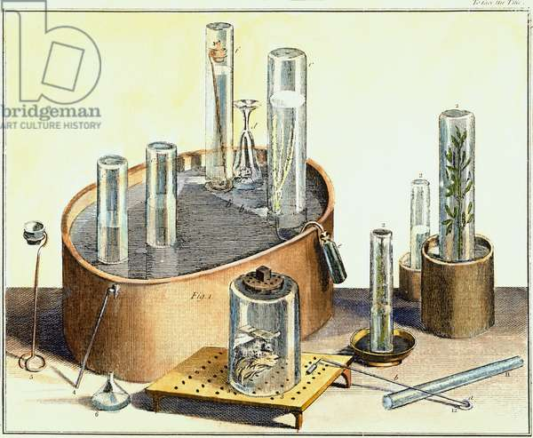 """PRIESTLEY: APPARATUS, 1770s Apparatus used by Joseph Priestley, English chemist, in his experiments on the composition of air. Color engraving from his """"Experiments and Observations on Different Kinds of Air,"""" London, 1774-77."""