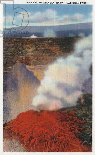 HAWAII: KILAUEA VOLCANO Kilauea volcano in Hawaii. Postcard, American, 1935.