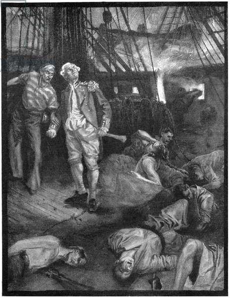 BATTLE OF FLAMBOROUGH HEAD British naval officer Sir Richard Pearson aboard the HMS Serpais during the Battle of Flamborough Head against the USS Bonhomme Richard commanded by John Paul Jones on 23 September 1779. Illustration, American, 1899.