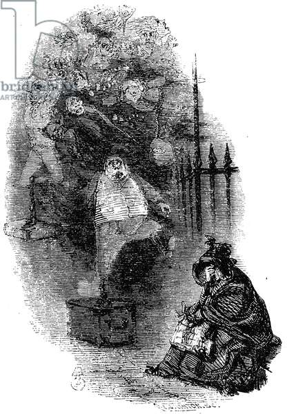 DICKENS: CHRISTMAS CAROL 'Ghosts of Departed Usurers.' Etching by John Leech from the first edition of Charles Dickens' 'A Christmas Carol,' 1843.