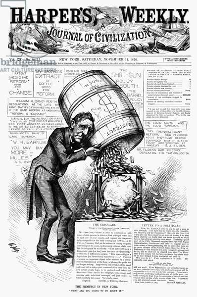 SAMUEL J. TILDEN (1814-1886) Samuel Jones Tilden. American political leader. Cartoon drawn by Thomas Nast for the cover of Harper's Weekly, 11 November 1876, showing Tilden dumping a barrel of fraudulent votes into the ballot box in New York, during his presidential campaign against Rutherford B. Hayes.