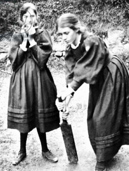VIRGINIA WOOLF (1882-1941) English writer photographed, left, in St. Ives, Cornwall, England, with her sister Vanessa in 1894.