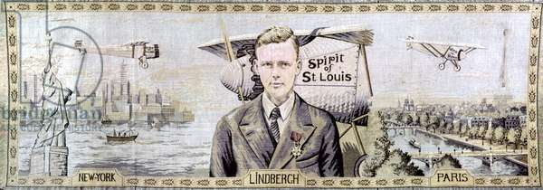 CHARLES LINDBERGH (1902-1974). American aviator. 'Lindbergh - New York to Paris.' Tapestry by an unknown French artist, 1927.