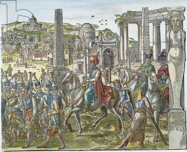 SULEIMAN THE MAGNIFICENT ( c.1494-1566). Sultan of the Ottoman Empire, 1520-1566. Suleiman riding through the ruins of the Hippodrome at Constantinople. Woodcut by Peter Coeck van Aelst, 1553.