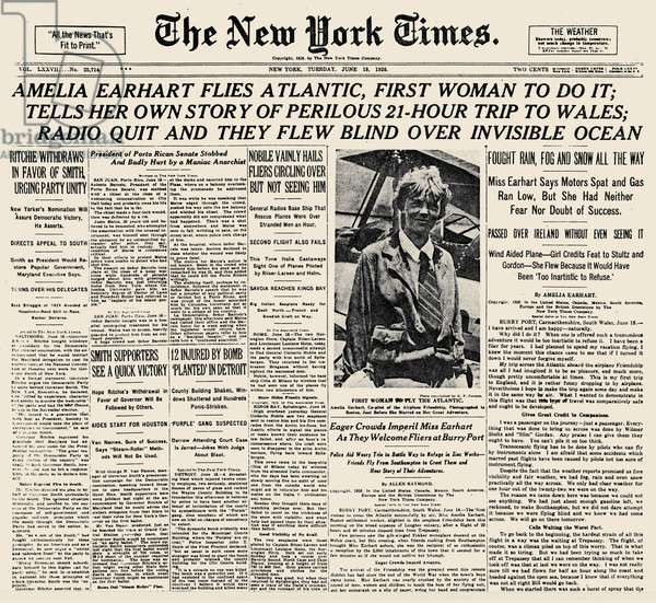 AMELIA EARHART (1897-1937) American aviator. Front page of The New York Times, 19 June 1928.