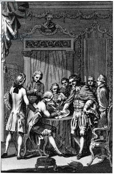 TREATY OF PARIS, 1783 Signing of the preliminary peace treaty between England and the allies, France and Spain, at Versailles, France, 20 January 1783. Contemporary English line engraving.