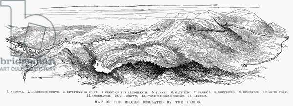 JOHNSTOWN FLOOD, 1889 Map of the region desolated by the floods. Wood engraving from a contemporary American newspaper.