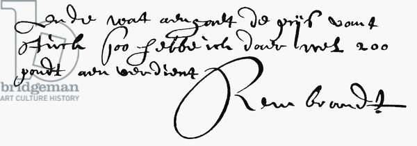 REMBRANDT van RIJN (1606-1669). Dutch painter and etcher. Autograph signature.