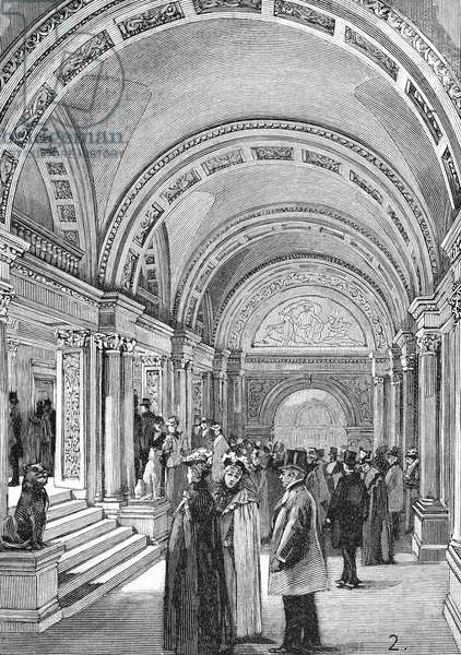 CARNEGIE HALL, 1891 The lobby of Carnegie Hall in New York City at its opening in May 1891. Contemporary American line engraving.