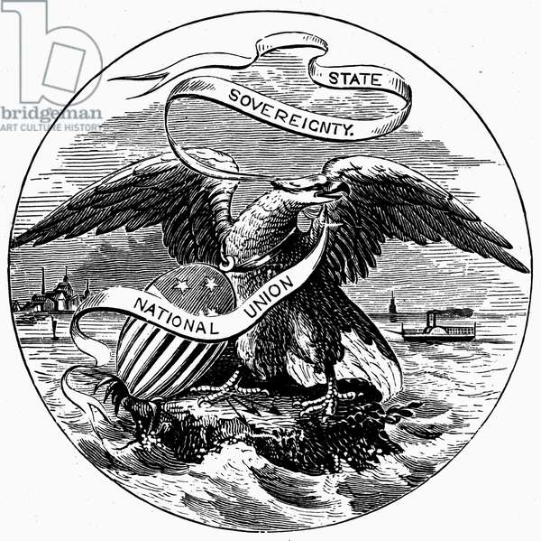 STATE SEAL: ILLINOIS Wood engraving, 19th century.