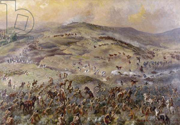 LITTLE BIGHORN, 1876 Custer's Last Stand. Oil painting by Gayle Hoskins.