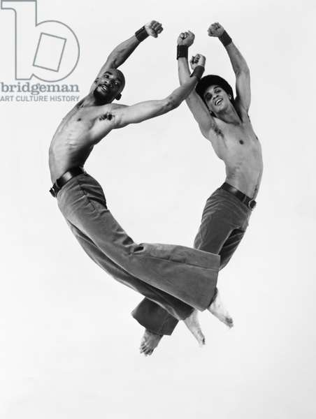DANCE: ALVIN AILEY John Parks (left) and Clive Thompson of the Alvin Ailey American Dance Theater performing in a production of 'Kinetic Molpai,' choreographed by Ted Shawn, c.1972.
