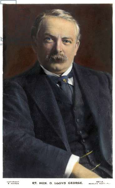 DAVID LLOYD GEORGE (1863-1945). British statesman. Oil over a photograph, c.1915.