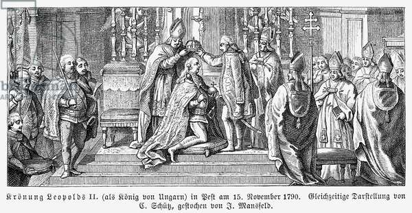 LEOPOLD II (1747-1792) Holy Roman emperor, 1790-1792. The coronation of Leopold as King of Hungary at Pest, 15 November 1790. Line engraving after a contemporary engraving.