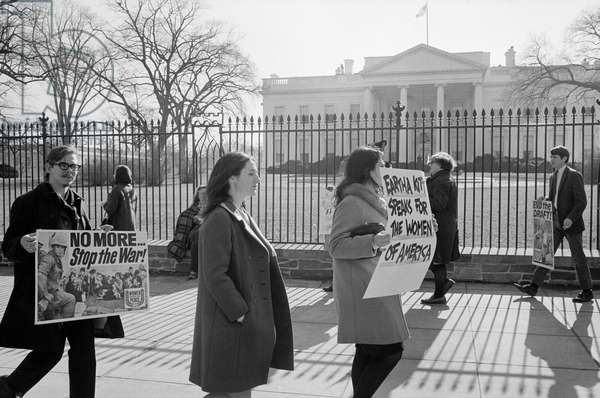 VIETNAM WAR PROTEST, 1968 An anti-Vietnam War protest in front of the White House, with signs in support of singer Eartha Kitt. Photograph by Warren Leffler, 1968.