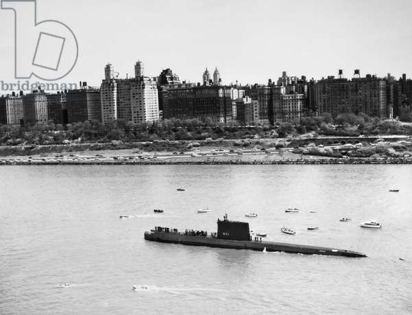 SUBMARINE: USS NAUTILUS The USS Nautilus, SSN-571, the world's first nuclear submarine, photographed in New York Harbor, 1956.
