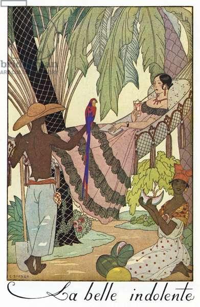 BARBIER: LA BELLE, 1923 'La belle indolente.' Fashion plate illustration by George Barbier, 1923.