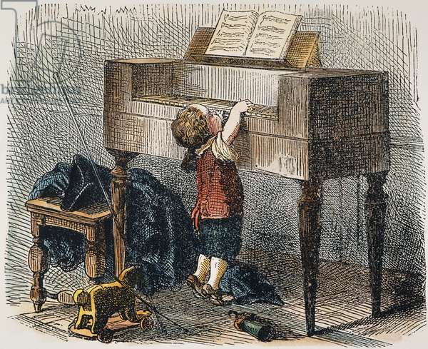WOLFGANG AMADEUS MOZART (1756-1791). Austrian composer. Young Mozart practicing the piano under difficulties: engraving, 19th century.