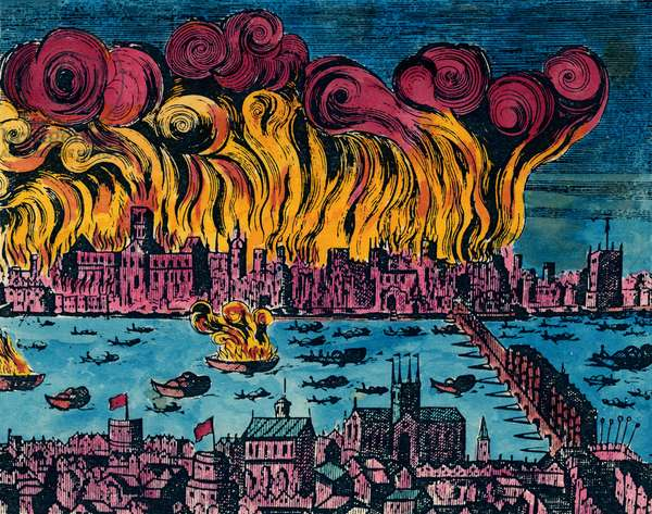 GREAT FIRE OF LONDON, 1666 The Great Fire of London, 1666, which destroyed 13,200 houses and 89 churches but with a total death toll of six persons. Contemporary engraving.