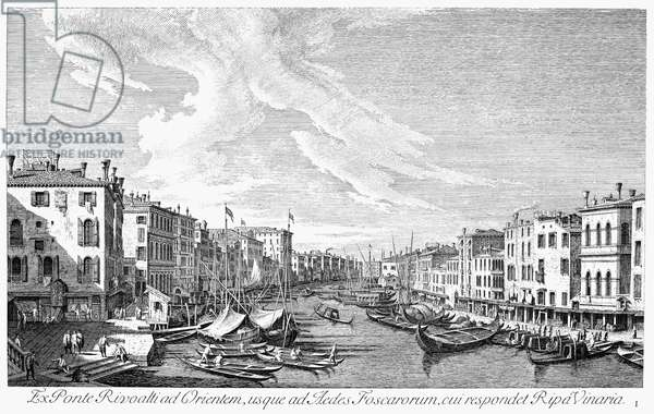 VENICE: GRAND CANAL, 1742 The Grand Canal in Venice, Italy, looking southwest from the Rialto Bridge to the Palazzo Foscari. Line engraving, 1742, by Antonio Visentini after Canaletto.