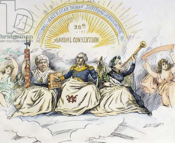 WOMEN'S RIGHTS CARTOON 'The Apotheosis of Liberty.' American cartoon, 1896, by George Y. Coffin, showing the women's suffrage advocates Elizabeth Cady Stanton and Susan B. Anthony included in the American pantheon with President George Washington.
