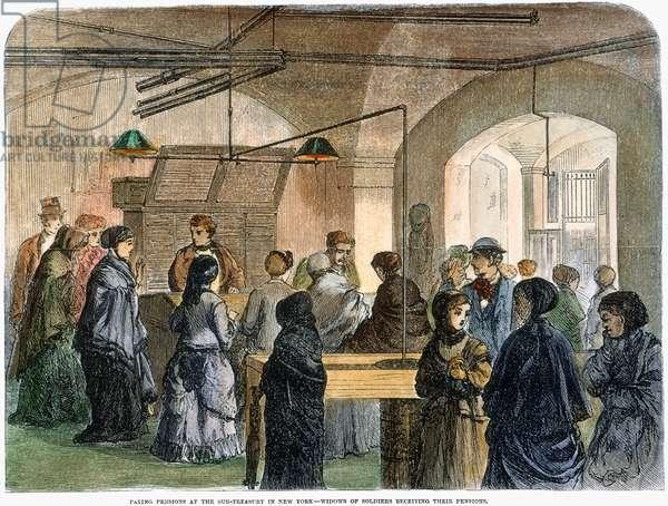 CIVIL WAR WIDOWS, 1869 Widows of Civil War soldiers receive their pensions at the Sub-Treasury in New York City: wood engravnig, American, 1869.