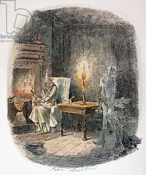 DICKENS: CHRISTMAS CAROL, 1843. 'Marley's Ghost.' Etching by John Leech from the first edition of Charles Dickens' 'A Christmas Carol,' 1843.