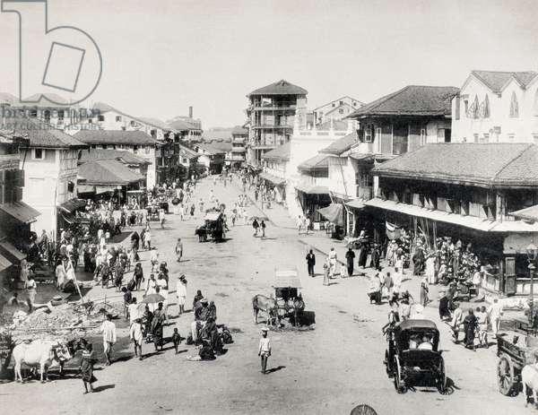 INDIA: STREET SCENE A street scene in India. Photograph, late 19th century.