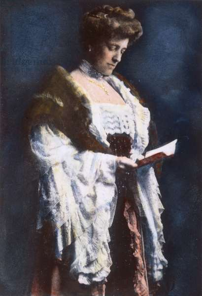 EDITH WHARTON (1862-1937) American author. Pictured shortly after the completion of her manuscript for 'The House of Mirth,' 1905. Oil over a photograph.