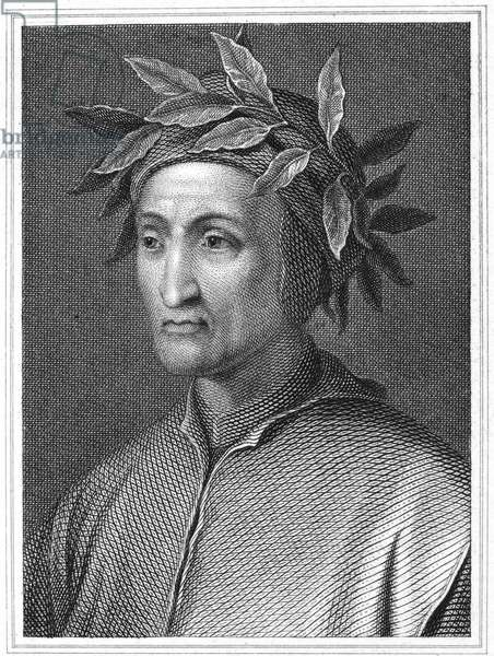 DANTE ALIGHIERI (1265-1321) Italian poet. Steel engraving, English, 19th century.